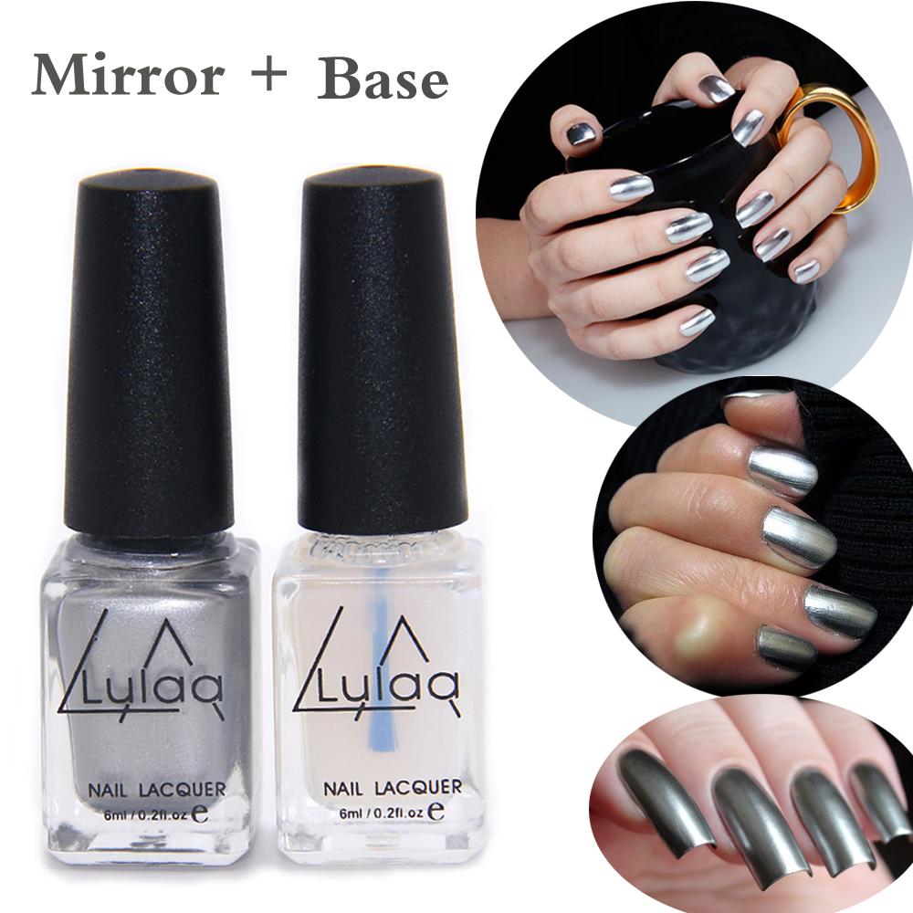 2pc/lot 6ml Silver Mirror Effect Metal Nail Polish Varnish Top Coat Metallic Nails Art Tips Nail Polish Fashion Polish(China (Mainland))