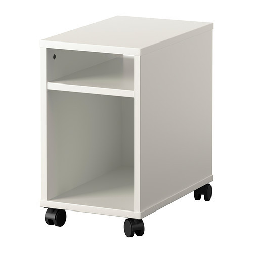white and black color moveable wood nightstand with rollers bedside table(China (Mainland))