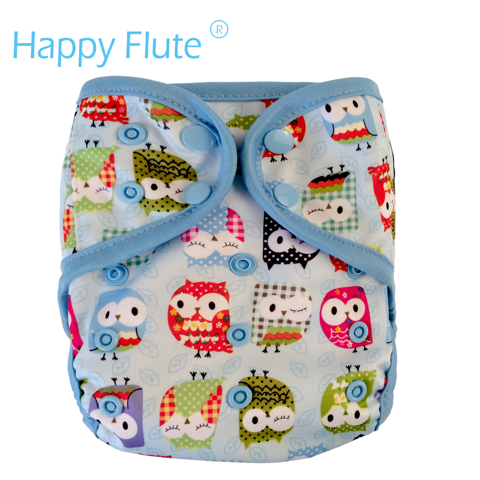 Happy Flute OS cloth diaper cover with or without bamboo cotton insert,waterproof breathable S M& L adjustable,fit 5-15kg baby