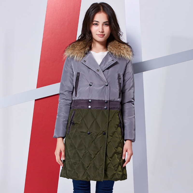 New Womens Winter Jackets And Coats Fashion Long Down Jacket Hit Color Coat Raccoon Fur Collar Double-Breasted Parka C892Одежда и ак�е��уары<br><br><br>Aliexpress
