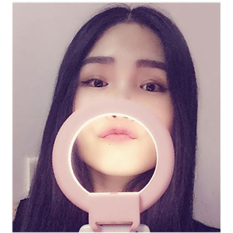 Portable Clip-on Lovely LED Selfie Ring Light Lamp Self-portrait Supplementary Fill-in Lighting for Smartphone(China (Mainland))