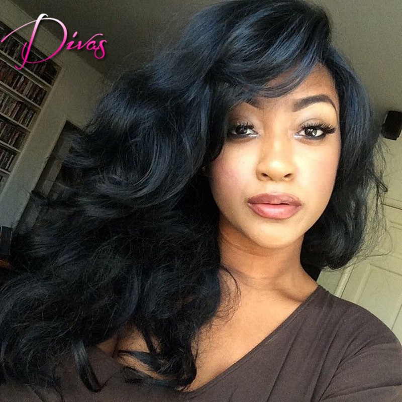 Фотография 100% peruvian human hair lace wig full lace wig with bangs discount lace front hair wigs natural hairline for black women