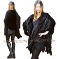 CX B 14C Womens Genuine Rabbit Fur Shawl with Tassels DROP SHIPPING