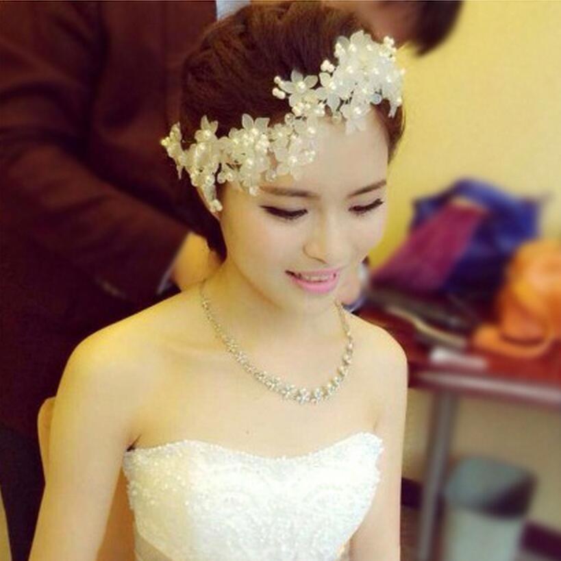 Bh31 высококачественный ручной головной убор с жемчугом свадебные аксессуары невесты жемчужина кружева волосы ужин ну вечеринку для женщин
