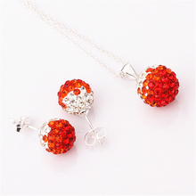 new silver 10mm Ball Czech rhinestone necklace earrings silver jewelry sets red Gradual color shamballa set for women(China (Mainland))