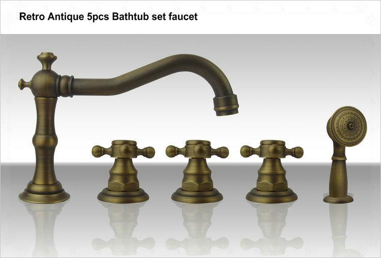 Classical fashion vintage retro antique finishing five pieces set of bathtub faucet 8407a cubas para banheiro gold color bathroo(China (Mainland))