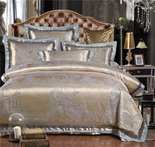 18 Colors Luxury Palace Dobby Cotton King Queen Size Bedding Set 4PCS Duvet Cover Silk Satin housse de couette ropa de cama(China (Mainland))
