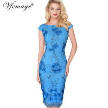 Buy Vfemage Womens Elegant 3D Flower Embroidery Casual Party Evening Mother Bride Special Occasion Sheath Bodycon Dress 3906 for $25.49 in AliExpress store