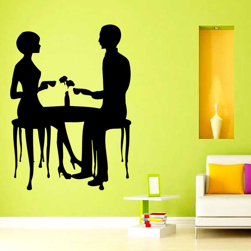 Love Couple Drinking Coffee Wall Stickers Creative Home Decor Coffee Shop Wall Decorative Sticker Decals(China (Mainland))