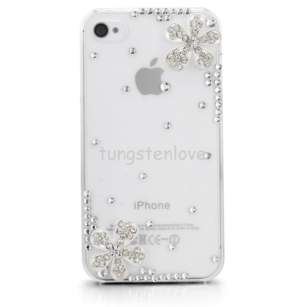 Luxury Bling Rhinestone Crystal Two Flowers Hard Case Cover Accessory Phone Cases For Apple iPhone 4 4S / iPhone 5 5S Women Gift(China (Mainland))
