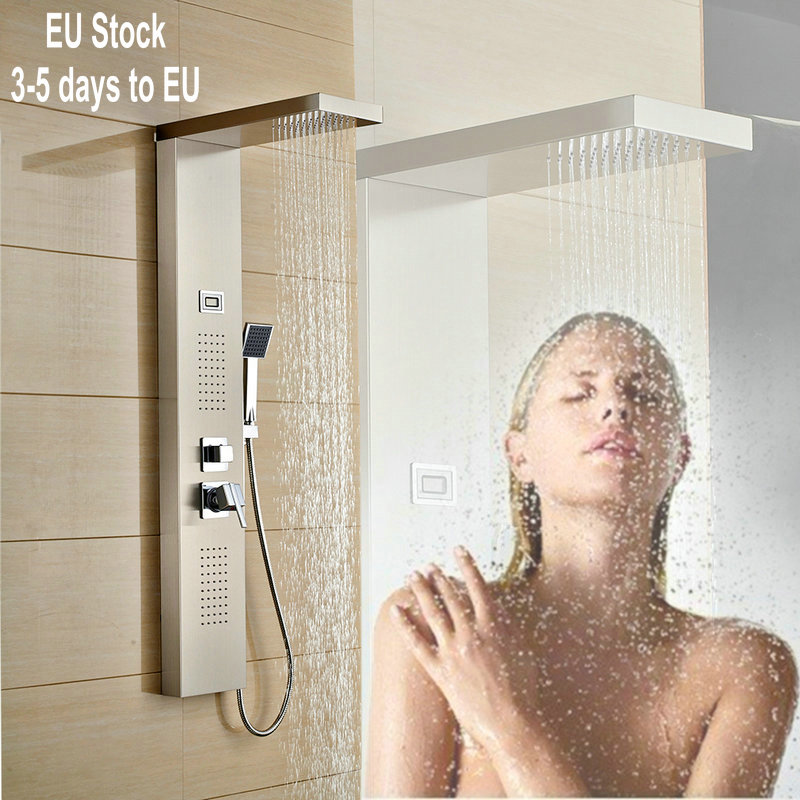 Rain Shower Panel Massage Jets Stainless Steel Bath Shower Faucet Hand Shower Tub Spout with LED Water Temperature Display(China (Mainland))