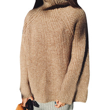 New 2016 fashion Women Sweater Thick Wool Knitted Tops Loose  Autumn Winter Knitted Pullover Casual Women Sweater Three Colors(China (Mainland))