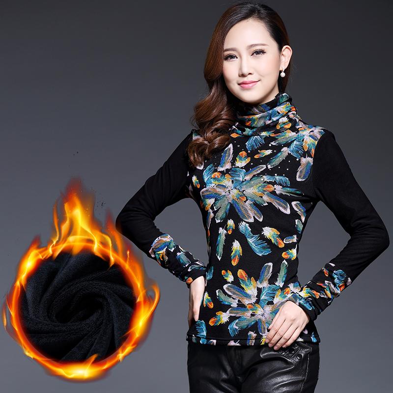 2015 New Spring Winter Plus Size Casual Women Print Shirt Long Sleeve O-neck Thicken Fashon Turtleneck Basic Warm Shirt Blouse(China (Mainland))