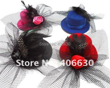 "5"" mini top hat, hairclips fascinators women, girls accessories, wedding hat, 12pcs/lot, free Shipping"