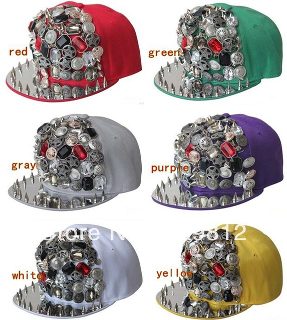 Free Shipping 2013 New Style, Button rivets flat brimmed hat, Fashion hip-hop cap, Bboy hats, Snapback caps