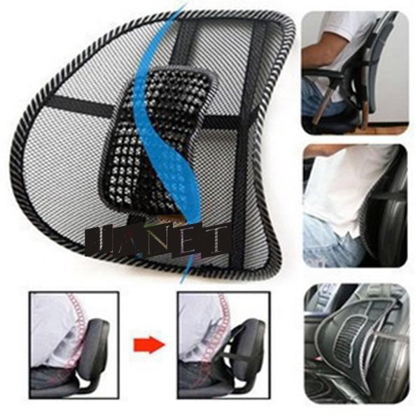 lumbar cushion massage cool Black mesh lumbar back brace support for office home car seat chair