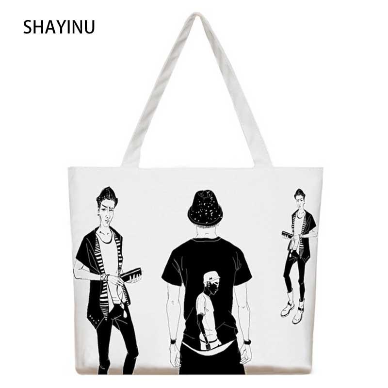 New Cartoon Boy Printed Female Shopping Tote Bag Big Canvas Handbag Women's One Shoulder Crossbody Bag Portable Student Bookbag(China (Mainland))