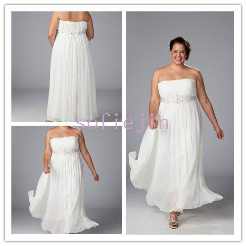 Elegant chiffon ankle length casual beach wedding dresses for Casual wedding dresses for plus size