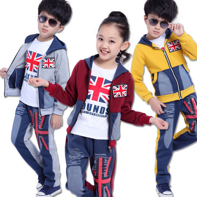 Brand Big Boys Girls Clothing Set (Jackets + T-shirt + Pants) Union Jack Hoodies Sweatshirts Kids Coat Kids Sport Suit Outerwear<br><br>Aliexpress