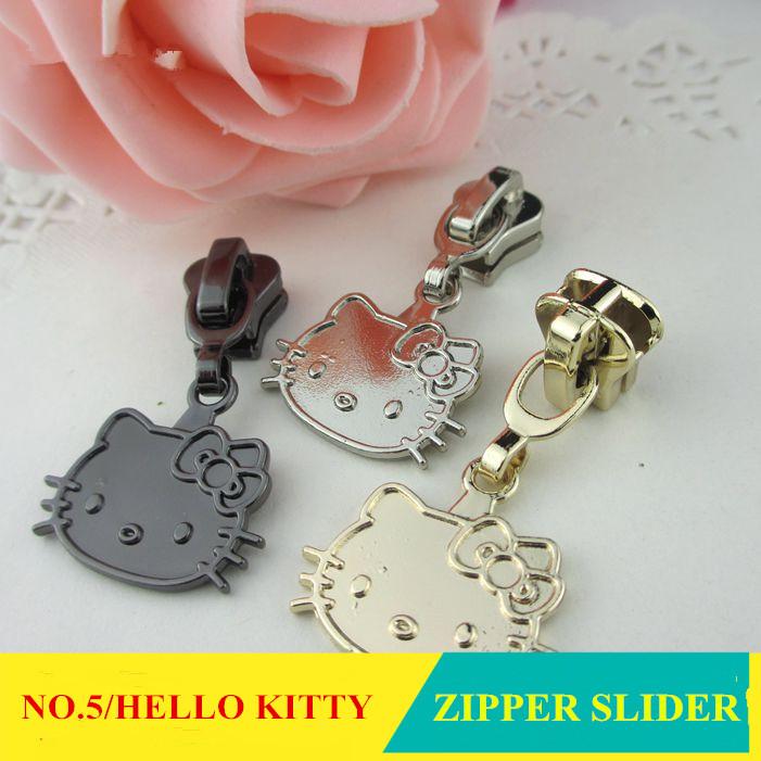 20pcs/lot NO.5 Resin zipper slider HELLO KITTY Zinc Alloy Plating fastener zipper puller Children Coat Clothes DIY free shipping(China (Mainland))