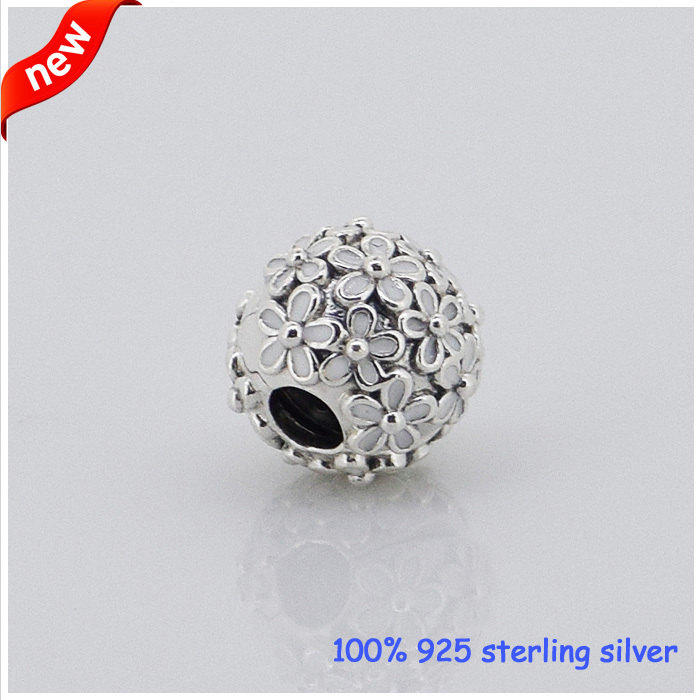 Fits for Pandora Bracelets Daisy Clips Silver Beads With White Enamel New 100 925 Sterling Silver