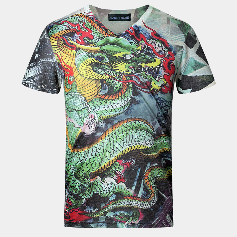 Luxury M-5XL oversized t shirt homme mens designer fashion 2016 3d print Chinese dragon fashion streetwear v neck Casual t-shirt(China (Mainland))