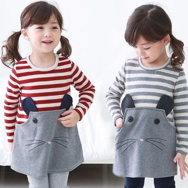 Розничная весна осень ребенку платья с длинным рукавом в полоску прекрасный маленький-мышевидных детская одежда девушки одеваются 2-7Y