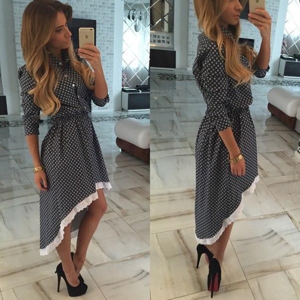 Платье кружево, лето и осень стиль высокая - низкая Dot принт женское сексуальный макси рубашка свободного покроя лето платье