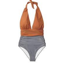 CUPSHE vous gardant à rayures une pièce maillot de bain col en V dos nu Bikini Sexy 2019 dames maillot de bain de plage(China)