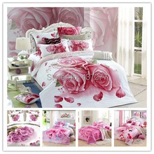 Girls pink beauty flower reactive print cotton bedroom bedding sets bedclothes 5pc for queen comforter bedding sets bed sheet(China (Mainland))