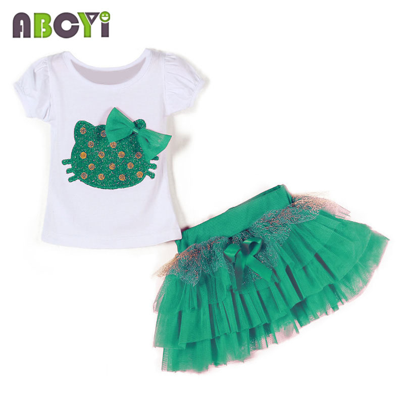 New 2015 Summer 2-5 Years Kids Suit Baby Girls Clothing Sets Hello Kitty T shirt + Tutu Skirt Two Piece Set Children Clothes(China (Mainland))