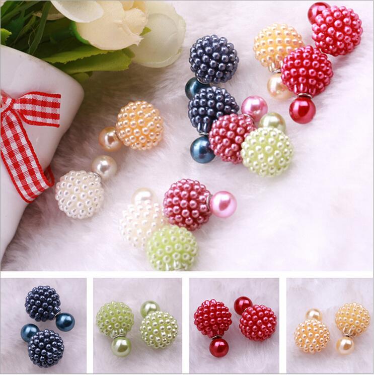 2015 Hot fashion brand jewelry elegant double pearl stud earrings for women cute opal beads ball earrings free shipping(China (Mainland))