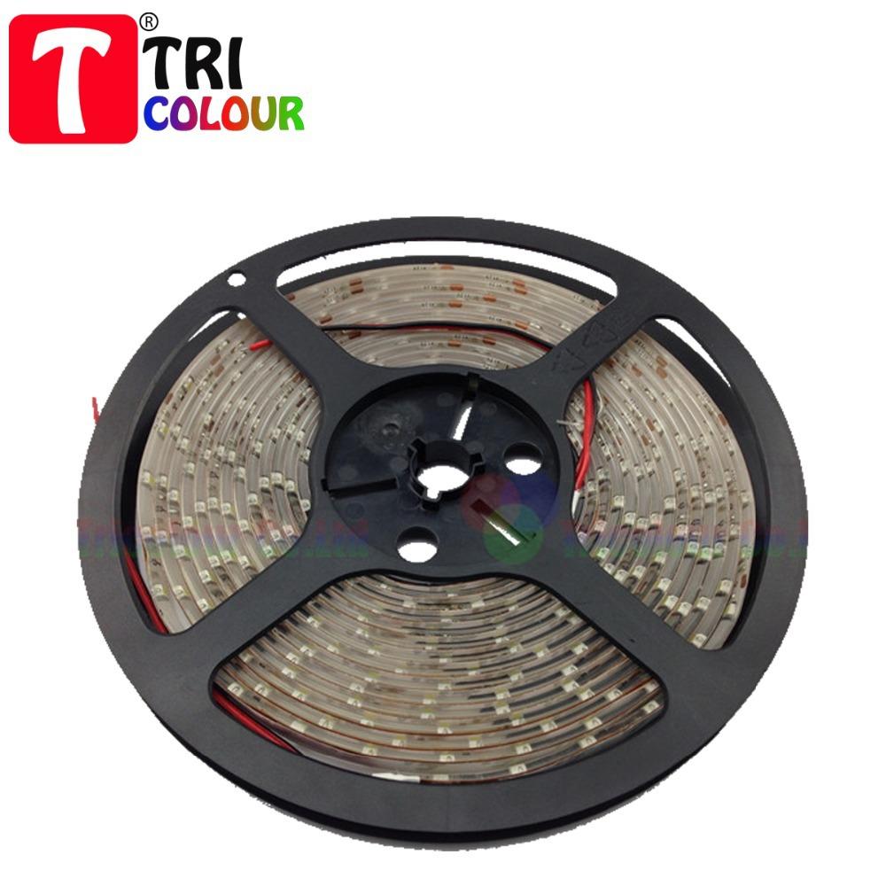 TRICOLOUR 12V waterproof led strip 3528 SMD 60LEDs/M 300leds 5m/roll Flexible singal color LED bar light 40m/lot 8rolls #L043(China (Mainland))