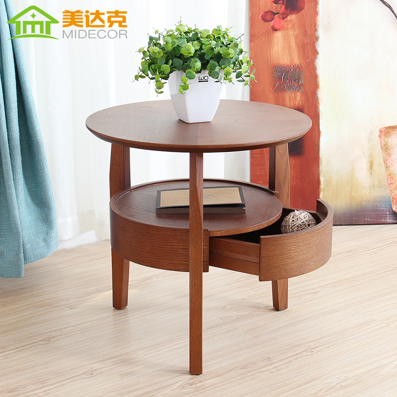 Small round wood table living room coffee table minimalist side table with drawers tea table Living room coffee table sets