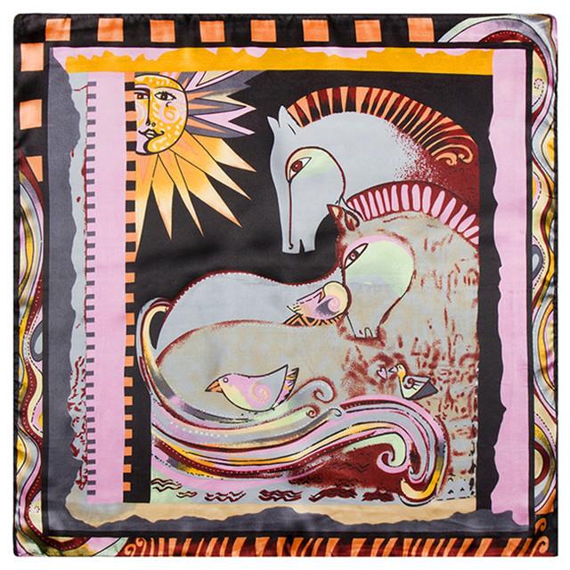 60 см * 60 см новая этническая стиль живописи ручная роспись абстрактный узор лошадь птица солнца моделирования следа полотенце небольшой площади шарф