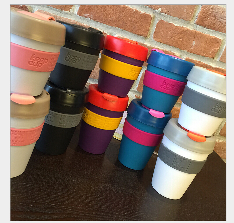 keepcup mugs 227ml-340ml coffee cup,Newest Colorful Keep Coffee Mugs With Lid,Office Water Cup,Double-Wall PP Covering Mug(China (Mainland))