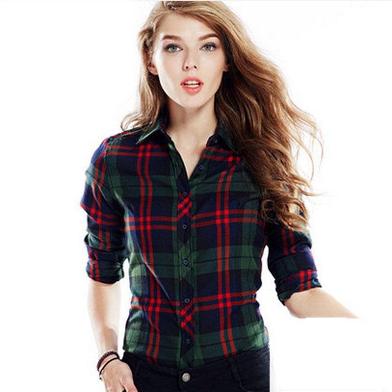 New arrival 100 Cotton Plaid Blouses Shirts Women Outwear Long sleeve Flannel font b Tartan b