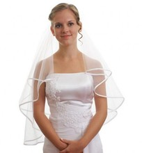 Free Shipping Velos de Novia Wedding Veil With Comb Ribbon Edge Tulle Short Bridal Veils Two Layers Veu De Noiva In Stock(China (Mainland))