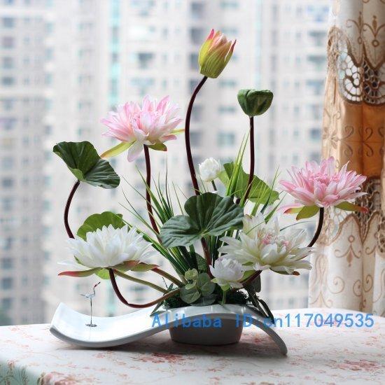 flower arrangement ikebana arranged artificial lotus flower silk flower include vase Home Decoration FV29