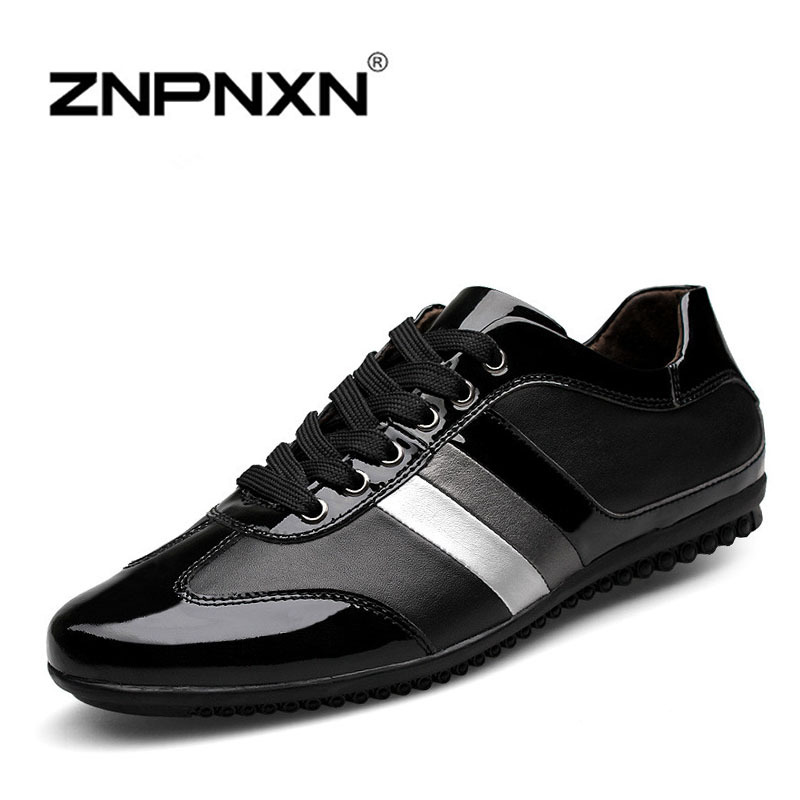 Luxury Brand Genuine Leather Men Shoes Casual 2015 New Fashion Mens Flats Lace Quality Scarpe Donna