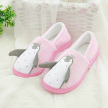 Buy Fashion cute cartoon penguin indoor bedroom house women slippers 2 colors pink gray laide shoes homen women for $13.98 in AliExpress store