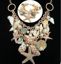Star fish & sea Life Design Shell charm Necklace Bracelet Jewelry Set(China (Mainland))