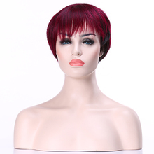 HAIRJOY Popular Burgundy Short Straight Wig Fashion Party Wig Synthetic Hair Sexy Wigs Free Shipping(China (Mainland))