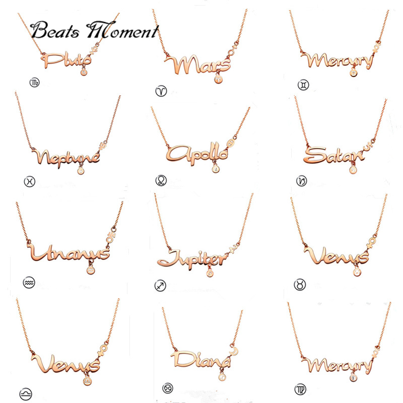 Perfume Women B&M 2016 New 18K Rose Gold Plated Titanium Steel Twelve Constellations Letter Necklace Pendant Parfum Femme(China (Mainland))