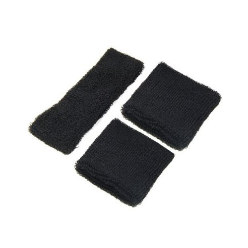 Wholesale 5X Neon Black Head & Wrist Sweatband Set for Gym Yoga Running Sports(China (Mainland))