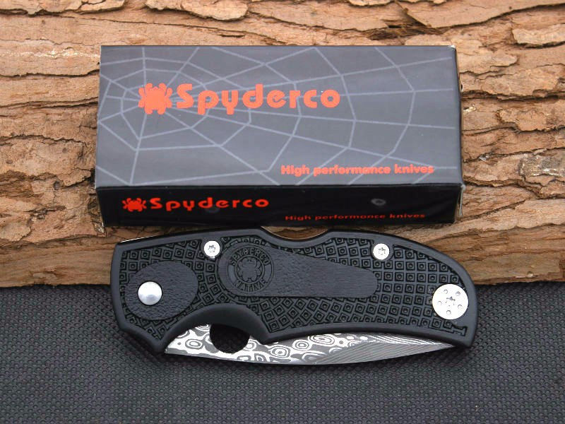 Buy Survival Knife Spyder Pocket Hunting Damascus Pattern Folding 440 Blade Knife Huntting Tactical Knives Camping Outdoor Tools Y86 cheap