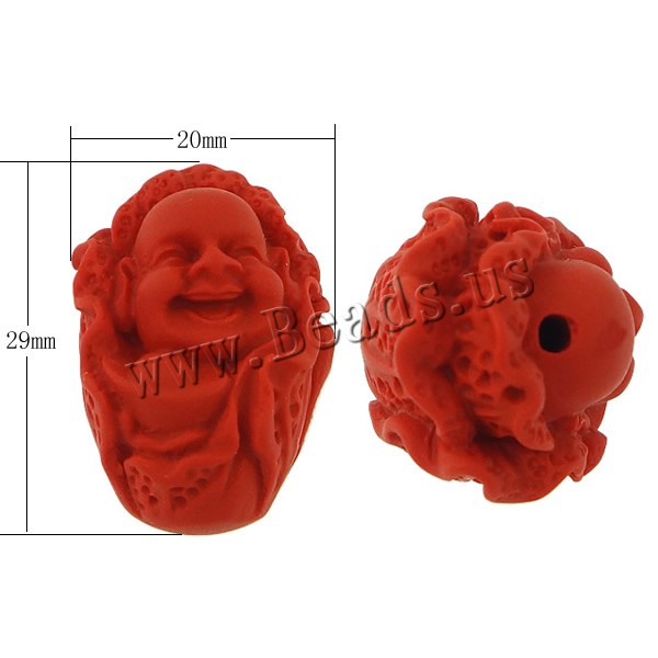 Free shipping!!!Cinnabar Beads,Chinese Jewelry Company, Buddha, Carved, red, 20x29x19mm, Hole:Approx 2mm, 50PCs/Lot, Sold By Lot<br><br>Aliexpress