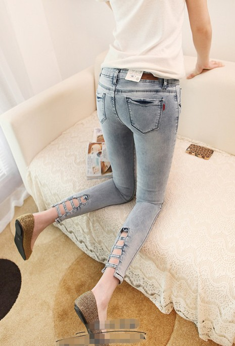 Kaka 2013 hole skinny pants women's denim ankle length trousers  -  merry xu's store store