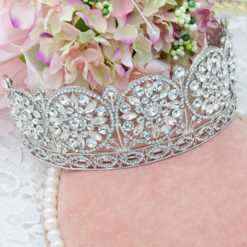 2015 New Year Newest Vintage Oversize Rhinestone Bridal Crown Wedding Hair Accessories Crystal Pageant Crowns Wedding Jewelry(China (Mainland))