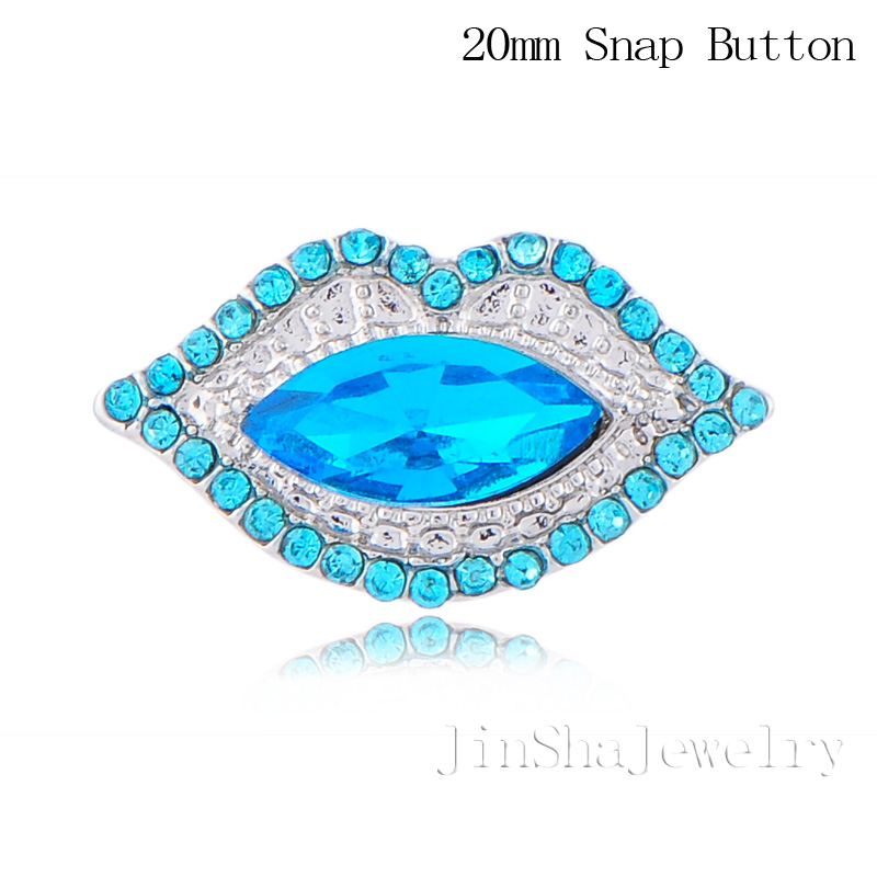 Jinsha 2015 New fashion white&amp;red rhinestone lips button snap charms fit 18-20mm snap necklace pendant 20pcs/lot JSMC20181-9107<br><br>Aliexpress